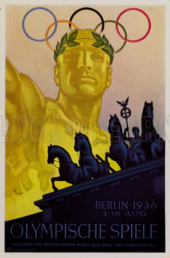 Poster for the 1936 Summer Olympic Games, Berlin, Germany. Illustration from Die Olympischen Spiele 1936 (Cigaretten-Bildendienst Hamburg-Bahrenfeld, 1936).