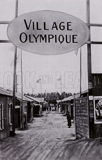 The first Olympic Village, built for athletes at the 1924 Games in Paris, France. Illustration from Die Olympischen Spiele 1936 (Cigaretten-Bildendienst Hamburg-Bahrenfeld, 1936).