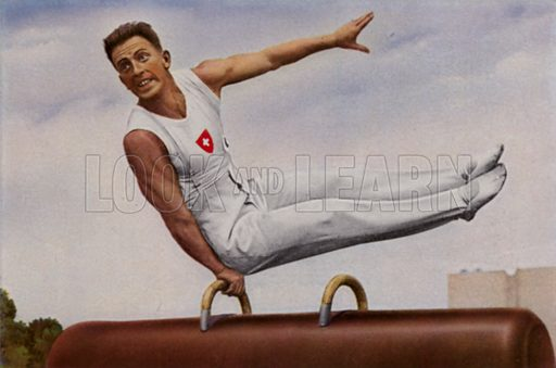 Swiss gymnast Eugen Mack (1907-1978), winner of four silver medals and one bronze at the 1936 Berlin Olympic Games, competing in the pommel horse. Illustration from Die Olympischen Spiele 1936 (Cigaretten-Bildendienst Hamburg-Bahrenfeld, 1936).