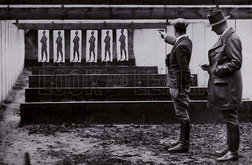 Training on the pistol shooting range at Wannsee for the 1936 Olympic Games, Berlin, Germany. Illustration from Die Olympischen Spiele 1936 (Cigaretten-Bildendienst Hamburg-Bahrenfeld, 1936).