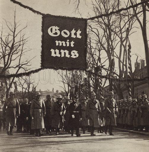 Nazi parade, Germany, c early 1930s. Illustration from Zeitgeschichte in Wort und Bild, by George Soldan (National-Archiv Verlags GMBH, Munich, 1933).