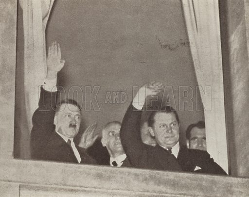 Nazi leader Adolf Hitler and Hermann Goering saluting the crowds on the evening of Hitler's appointment as Chancellor of Germany, Berlin, 30 January 1933. Illustration from Zeitgeschichte in Wort und Bild, by George Soldan (National-Archiv Verlags GMBH, Munich, 1933).
