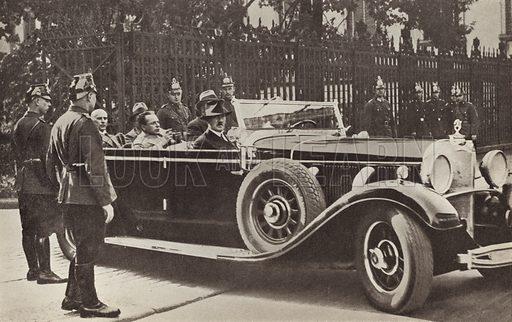 Nazi Party leader Adolf Hitler leaving the Presidential Palace in Berlin after meeting German President Paul von Hindenburg, 13 August 1932. Illustration from Zeitgeschichte in Wort und Bild, by George Soldan (National-Archiv Verlags GMBH, Munich, 1933).