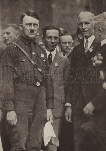 Nazi Party leaders Adolf Hitler, Joseph Goebbels and Gottfried Feder at the party's rally in Nuremberg, Germany, 1927. Illustration from Zeitgeschichte in Wort und Bild, by George Soldan (National-Archiv Verlags GMBH, Munich, 1933).