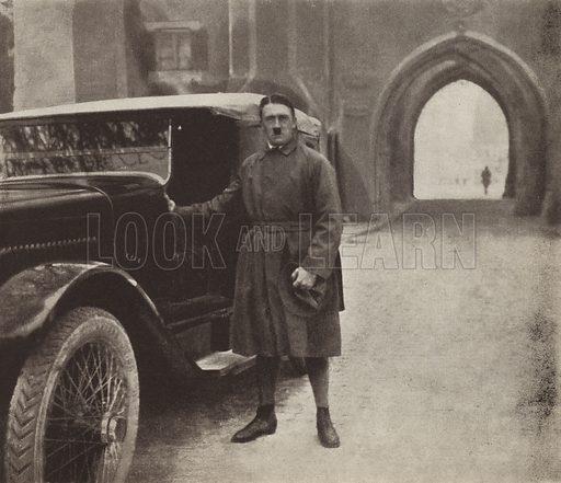 Nazi party leader Adolf Hitler after his release from Landsberg Prison, Germany, 1924. Illustration from Zeitgeschichte in Wort und Bild, by George Soldan (National-Archiv Verlags GMBH, Munich, 1933).