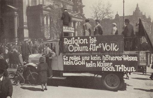 Lorry daubed with Communist slogans on the streets of Berlin, Germany, 1920s. Illustration from Zeitgeschichte in Wort und Bild, by George Soldan (National-Archiv Verlags GMBH, Munich, 1933).