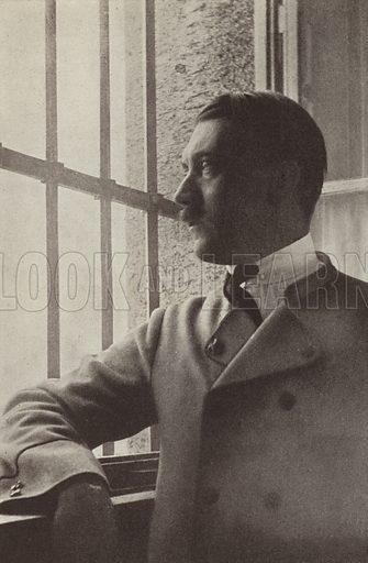 Nazi Party leader Adolf Hitler during his incarceration in Landsberg Prison for his part in the Munich Beer Hall Putsch in 1923. Illustration from Zeitgeschichte in Wort und Bild, by George Soldan (National-Archiv Verlags GMBH, Munich, 1933).