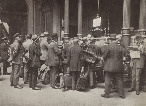 Hyperinflation in Weimar Germany: members of the public queuing outside the Reichsbank in Berlin with suitcases to carry their money, July 1923. Illustration from Zeitgeschichte in Wort und Bild, by George Soldan (National-Archiv Verlags GMBH, Munich, 1933).