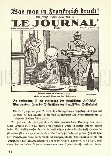German propaganda depicting the front page of a French newspaper featuring a cartoon showing Prime Minister Raymond Poincare eating the children of the Ruhr during the French occupation of the region, 1923. Illustration from Zeitgeschichte in Wort und Bild, by George Soldan (National-Archiv Verlags GMBH, Munich, 1933).