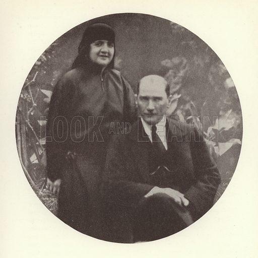 Mustafa Kemal Ataturk, President of Turkey, and his wife, Latife Usakligil. Illustration from Zeitgeschichte in Wort und Bild, by George Soldan (National-Archiv Verlags GMBH, Munich, 1933).