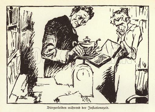 Sufferings of German citizens during the Weimar hyperinflation, 1921-1923. Illustration from Zeitgeschichte in Wort und Bild, by George Soldan (National-Archiv Verlags GMBH, Munich, 1933).