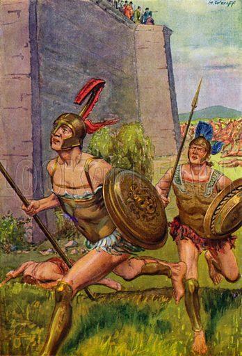 Achilles pursuing Hector around the city walls of Troy. Illustration from Griechische Geschichte by M von Witzleben (Meidinger's Jugendverlag, GMBH, Berlin, c1908).
