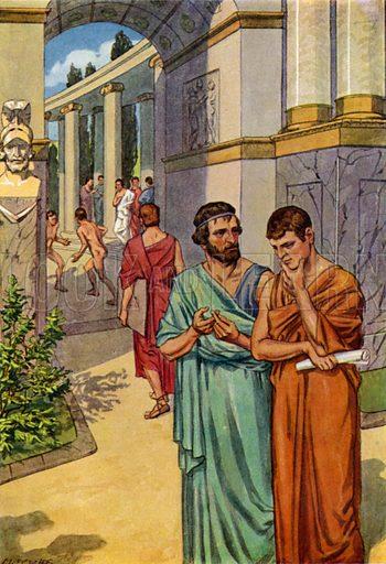 Plato instructing his pupils in the colonnades of Athens while youths cavort in the gymnasium. Illustration from Griechische Geschichte by M von Witzleben (Meidinger's Jugendverlag, GMBH, Berlin, c1908).