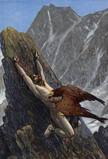 Eagle devouring the liver of Prometheus, chained to a rock by Zeus in punishment for stealing fire from the gods and giving it to humanity. Illustration from Pohadky Staroveke (Ancient Myths), by Frantisek Ruth (Solc a Simecek, Prague, c1920).