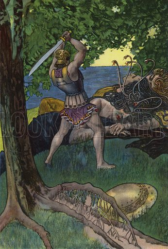 Perseus cutting off the head of Medusa. Illustration from Pohadky Staroveke (Ancient Myths), by Frantisek Ruth (Solc a Simecek, Prague, c1920).