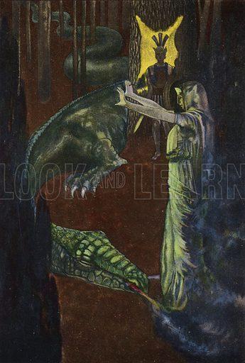Jason watching Medea put the dragon guarding the golden fleece to sleep. Illustration from Pohadky Staroveke (Ancient Myths), by Frantisek Ruth (Solc a Simecek, Prague, c1920).