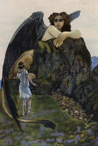 Oedipus and the sphinx. Illustration from Pohadky Staroveke (Ancient Myths), by Frantisek Ruth (Solc a Simecek, Prague, c1920).