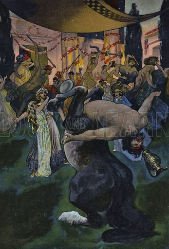 Satyrs disrupting the wedding feast of Orpheus and Eurydice, scene from Orpheus in the Underworld. Illustration from Pohadky Staroveke (Ancient Myths), by Frantisek Ruth (Solc a Simecek, Prague, c1920).