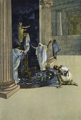 Orestes is ordered by Apollo to go to Tauris and bring the statue of Artemis to Athens. Illustration from Pohadky Staroveke (Ancient Myths), by Frantisek Ruth (Solc a Simecek, Prague, c1920).