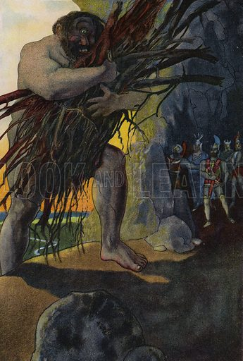 Odysseus and his companions in the cave of the Cyclops Polyphemus. Illustration from Pohadky Staroveke (Ancient Myths), by Frantisek Ruth (Solc a Simecek, Prague, c1920).
