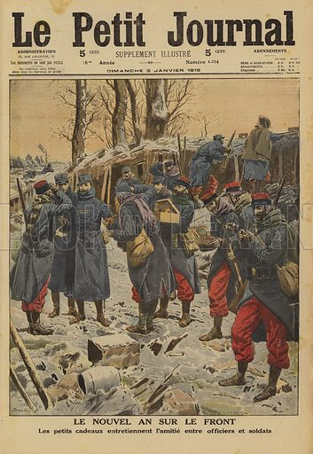 New Year at the front line: French Army officers and soldiers exchanging gifts, World War I, 1915. Le Nouvel An sur le front. Les petits cadeaux entretiennent l'amitie entre officiers et soldats. Illustration from Le Petit Journal, 2 January 1915.