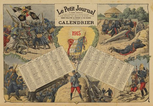 Calendar for 1915, with World War I battlefield scenes. Illustration from Le Petit Journal, 2 January 1915.