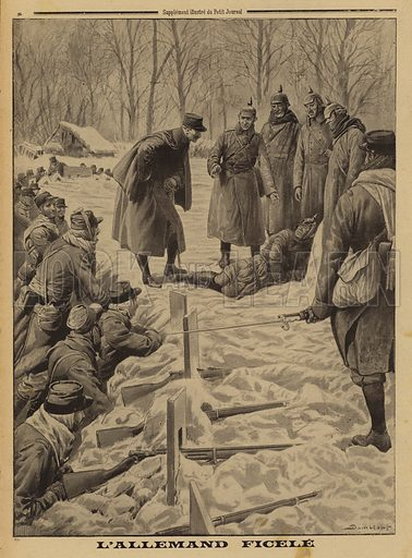 German soldiers surrendering to the French and delivering, tied up, one of their officers who had tried to stop them, World War I, 1915. L'Allemand ficele. Illustration from Le Petit Journal, 10 January 1915.