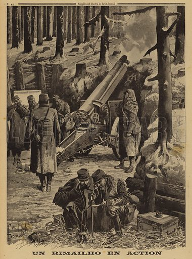 French Army Rimailho rapid fire medium howitzer in action, World War I, 1915. Un Rimailho en action. Illustration from Le Petit Journal, 17 January 1915.