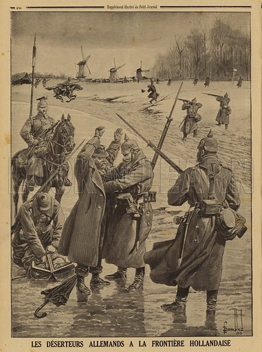 German Army deserters being apprehended at the Dutch border, World War I, 1915. Les deserteurs Allemands a la frontiere Hollandaise. Illustration from Le Petit Journal, 31 January 1915.
