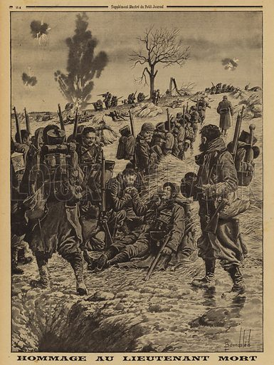 French soldiers paying their respects to a lieutenant killed in action, World War I, 1915. Hommage au lieutenant mort. Illustration from Le Petit Journal, 7 February 1915.