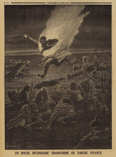 German soldier carrying flammable materials turned into a human torch during a night battle, World War I, 1915. Un boche incendiaire transforme en torche vivante. Illustration from Le Petit Journal, 14 March 1915.
