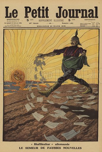 """German """"Bluffikultur"""": caricature of Kaiser Wilhelm II as the sower of false news, World War I, 1915. """"Bluffikultur"""" allemande. Le semeur de fausses nouvelles. Illustration from Le Petit Journal, 21 March 1915."""