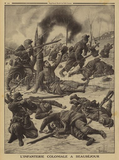 French colonial infantry fighting at Beausejour, Marne, World War I, 1915. L'infanterie coloniale a Beausejour. Illustration from Le Petit Journal, 28 March 1915.