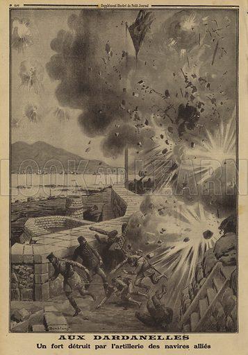 Turkish fort destroyed by Allied naval bombardment during the Dardanelles Campaign, World War I, 1915. Aux Dardanelles. Un fort detruit par l'artillerie des navires allies. Illustration from Le Petit Journal, 4 April 1915.