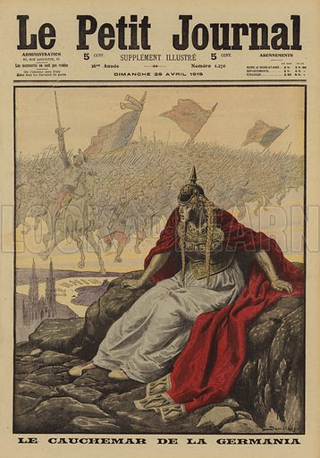 Germania's nightmare. Le cauchemar de Germania. Illustration from Le Petit Journal, 25 April 1915.