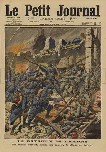 House to house fighting as the French take the village of Carency from the Germans, Second Battle of Artois, World War I, 1915. La Bataille d'Artois. Nos soldats enlevent, maison par maison, la village de Carency. Illustration from Le Petit Journal, 30 May 1915.
