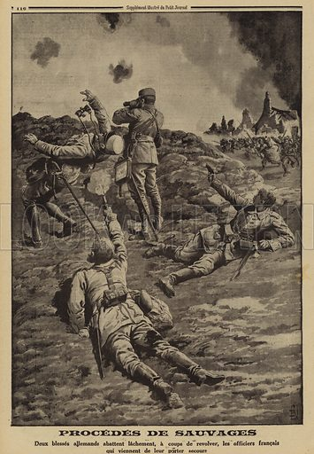 Two wounded German soldiers shooting French officers who had helped them to shelter in the back, World War I, 1915. Procedes de sauvages. Deux blesses Allemandsabattent lachement, a coups de revolver, les officiers Francaisqui viennent de leur porter secours. Illustration from Le Petit Journal, 6 June 1915.