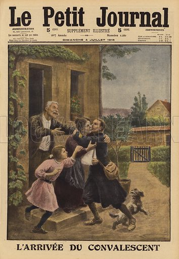 Wounded French soldier welcomed home for his convalescence by his family, World War I, 1915. L'arrivee du convalescent. Illustration from Le Petit Journal, 4 July 1915.