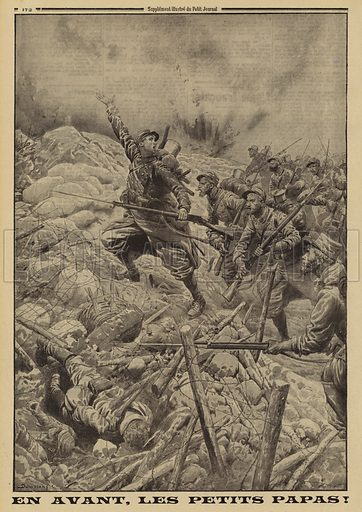 French infantry launching an attack, World War I, 1915. Illustration from Le Petit Journal, 25 July 1915.