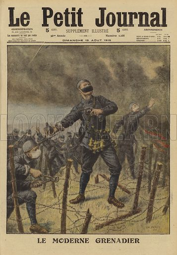 French soldiers throwing hand grenades, World War I, 1915. Le moderne grenadier. Illustration from Le Petit Journal, 15 August 1915.