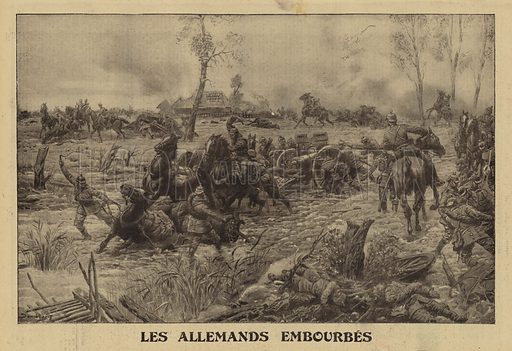 German troops bogged down in the mud of the Pinsk Marshes, Russia, World War I, 1915. Les Allemands embourbes. Illustration from Le Petit Journal, 10 October 1915.