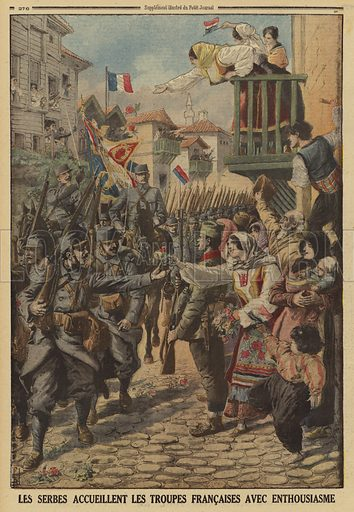 Serbian civilians enthusiastically greeting the arrival of French troops, World War I, 1915. Illustration from Le Petit Journal, 24 October 1915.