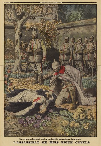 Execution of British nurse Edith Cavell by the occupying Germans for helping Allied soldiers to escape, Brussels, Belgium, World War I, 1915. Un crime Allemand qui a indigne la conscience humaine. L'assassinat de Miss Edith Cavell.  Illustration from Le Petit Journal, 7 November 1915.