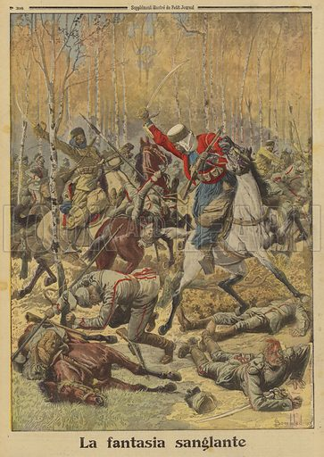 Algerian goumiers of the French Army defeating a larger group of German cavalry, World War I, 1915. La fantasia sanglante. Illustration from Le Petit Journal, 28 November 1915.