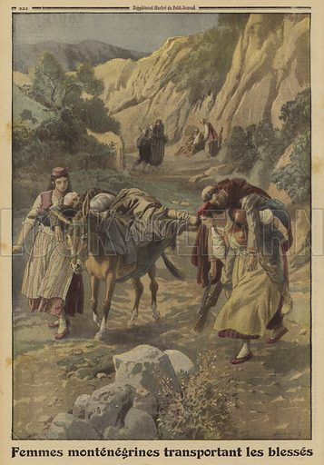 Montenegrin women transporting wounded soldiers, World War I, 1915. Femmes Montenegrines transportent les blesses. Illustration from Le Petit Journal, 5 December 1915.