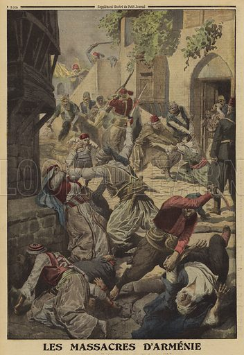 Turkish massacres of Armenians, World War I, 1915. Les massacres d'Armenie. Illustration from Le Petit Journal, 12 December 1915.