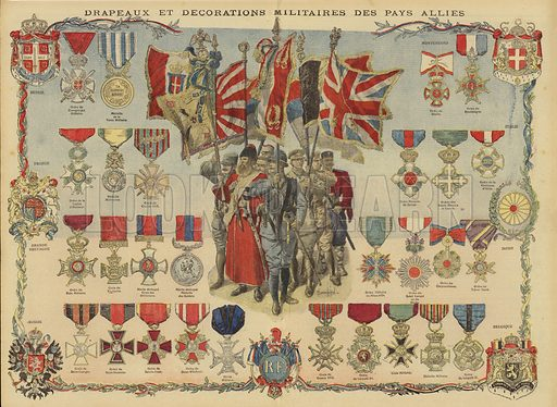 Flags and military decorations of the Allied Powers, World War I. Drapeaux et decorations militaires des pays allies. Illustration from Le Petit Journal, 19 December 1915.