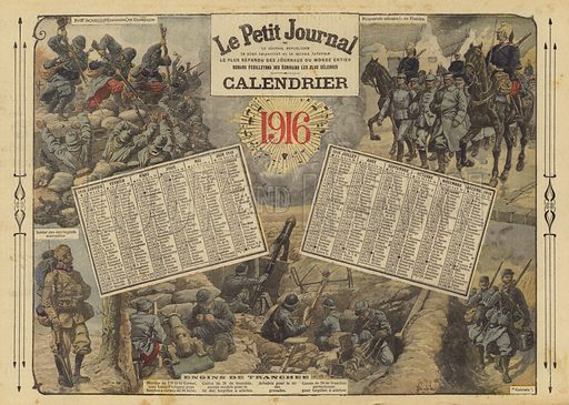 Calendar for 1916, with World War I battle scenes. Illustration from Le Petit Journal, 2 January 1916.