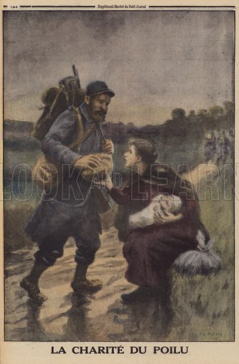French soldier giving a poor peasant woman with a baby his loaf of bread, World War I, 1916. La charite du poilu. Illustration from Le Petit Journal, 9 January 1916.