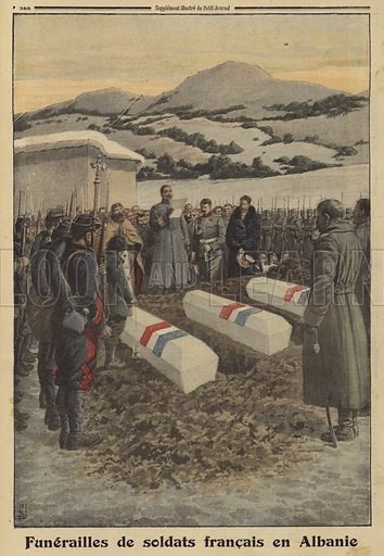 Funeral of French soldiers who died in Albania during the retreat from Serbia, World War I, 1916. Funerailles de soldats Francais en Albanie. Illustration from Le Petit Journal, 30 January 1916.